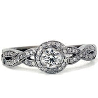 Infinity Micropave Gray & White Diamond Engagement 1.00CT Ring 14K Black Gold Size (4-9)