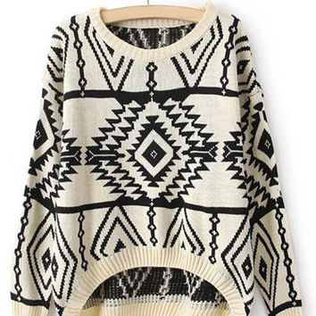 White Long Sleeve Geometric Print Sweater