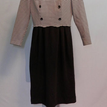 1980's Leslie Fay Houndstooth Knit Dress with Black Attached Skirt