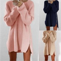 Irregular Sweater Winter Casual Zippers One Piece Dress