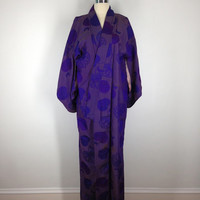 Vintage Kimono / Purple Lotus Flower Print  / Long Robe / Art Deco / Wedding Lingerie