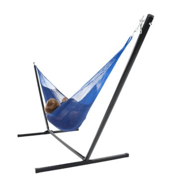 Sunnydaze Decor Blue Double Mayan Hammock with Stand
