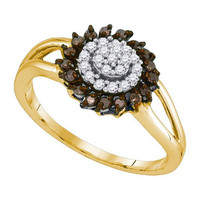 Cognac Diamond Fashion Ring in 10k Gold 0.25 ctw
