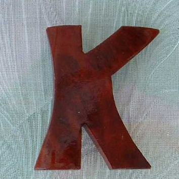 Wood Letter K Monogram Brooch Pin for Kathy Karen Vintage Jewelry