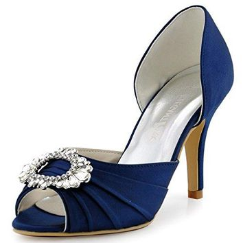 ElegantPark Women High Heel Pumps Peep Toe Brooch Ruched Satin Evening Prom Wedding Shoes