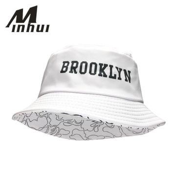 a09b19a255407 Minhui 2016 New Fashion BROOKLIN Bucket Hat White Panama Fishing Cap Men  and Women Bob Bape