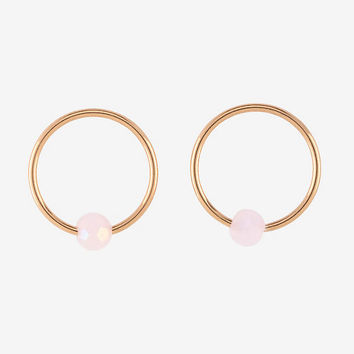 Steel Rose Gold Plated & Pink Ball Captive Hoop 2 Pack