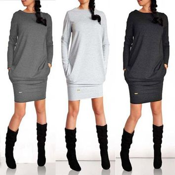 Autumn/ Winter Women Jumper Hoodies Dress Female Long Sleeve Tunic Bodycon Sweatshirt Tracksuit Pullover Vestidos De Fiesta