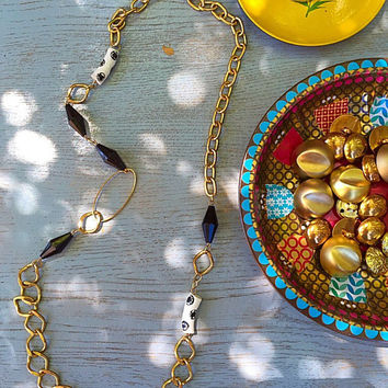 Stylish bohemian long necklace /gold black white necklace/ Eclectic style beads necklace