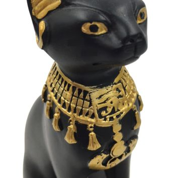 Egyptian Cat Bastet Mini Miniature Cute Statue with Scarab Figurine 5.25H