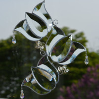 Stained Glass Beveled Tulips with Crystal Drops Suncatcher, Window Decoration, Home Decor, Window Ornament, Bevelled Glass Sun Catcher Clear
