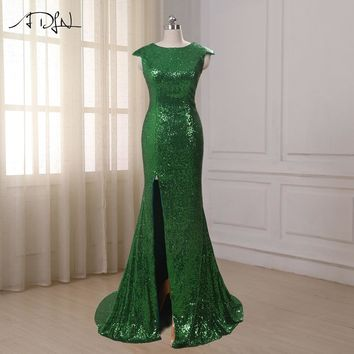 ADLN In Stock Sequin Long Evening Dress 2017 Sparkly Elegant Formal Dresses Mermaid Evening Gowns High Quality