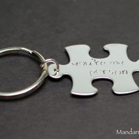 Couples or Friendship Keychain, You're My Person, Puzzle Piece Key Chain, Stainless Steel Accessory, Anniversary, Wedding Gift, His Hers
