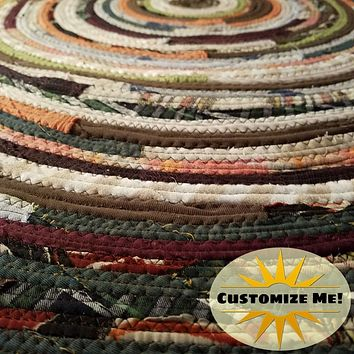 2' Colorful Round Rug, Handmade to Order YOU Choose Colors! Gypsy Boho Bohemian Upcycled