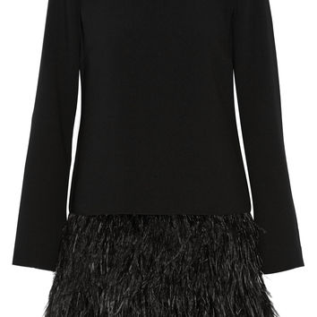 Elizabeth and James - Serena feather-trimmed cady mini dress