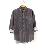 Vintage plaid cotton button down / Grunge Shirt / washed out button up shirt