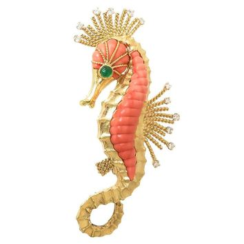 1970s Van Cleef & Arpels Large Coral Gold Sea Horse Brooch