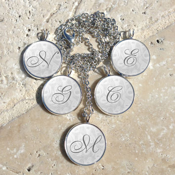 Set of 5 Bridesmaids Gifts-Initial Pendant,Personalized Pendant,Monogram Pendant,Initial Accessories,Bridal Party Gifts,Gifts for Her,