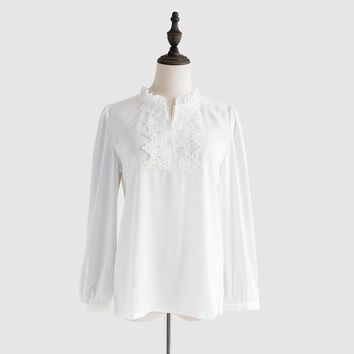 Chiffon Blouse Women Clothes Stand Collar Embroidery Crochet Lace Pearl Blouse Long Sleeve Shirt