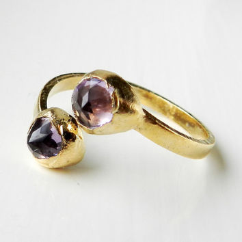 ON SALE Ametrine ring - Adjustable band - Gold dipped - Organic gemstone - Luxe statement