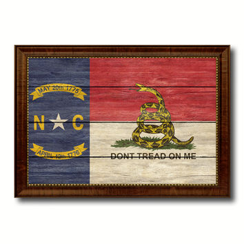 Gadsden Don't Tread On Me North Carolina State Military Flag Texture Canvas Print with Brown Picture Frame Home Decor Wall Art Gifts