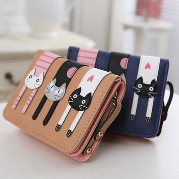 DUDINI Fashion Cat High-quality Leather Women Wallet Female Cartoon Three Little Kittens Short Wallets Candy Colors Women Purses