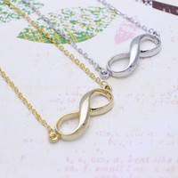 Simple Infinity  necklace in  silver or gold tone