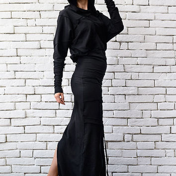 Black Hooded Dress/Asymmetric Dress/Loose Extravagant Dress/Long Sleeve Black Dress/Comfortable Dress/Black Casual Dress/Sweater Dress
