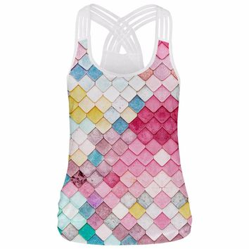 Colorful Plaid Women's Sports Shirt Yoga Top Sleeveless Tank Top Bandage Top Fitness Feminino Running T-shirt Fitness Clothing