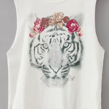White Tiger Print Sleeveless Graphic Tee