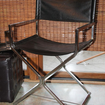 Vintage Mid Century Modern Minimalist Chair in Chrome with Black Vinyl Seat and Back