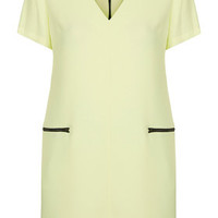 Crepe Zip Front Dress - Lime