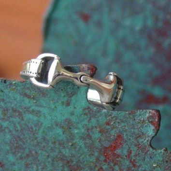 Snaffle Bit Horse Ring Equestrian .925 Sterling Silver - Sizes 4 thru 9