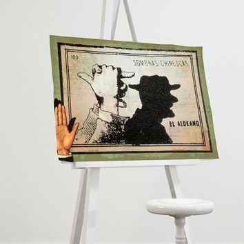 Mexican Shadow Show Print El Aldeano Decor Giclee Print on Cotton Canvas and Paper Canvas Poster Home Wall Art