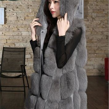 2018 Winter 6XL Women 2018 Winter Fur Vest Hooded Patchwork Fox Fur Thick Warm Fur Coat Faux Fur Vest