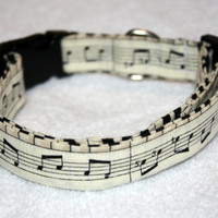 Music Note Print Dog Collar
