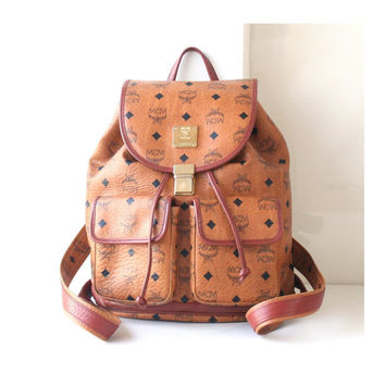Vintage MCM Backpack Visetos Cognac Brown Large Monogram Bag Authentic 90s