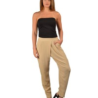 BANDED WAIST PLEATED FRONT SHIRRED PANTS-ID.29478
