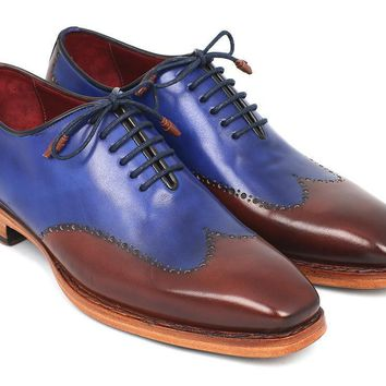 Paul Parkman (FREE Shipping) Men's Wingtip Oxford Goodyear Welted Blue & Brown (ID#81BLU57)