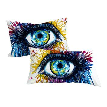 Rainbow Fire by Pixie Cold Art Pillowcase Colorful Pillow Case Charming Eye Home Textiles Watercolor Pillow Cover 2pcs