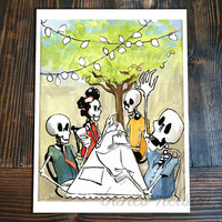 Day of the Dead Art Street Party Family Dinner Kitchen art print. Bones Nelson Skeleton El Catrin La Catrina illustration Dia de los Muertos