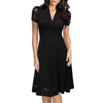 Womens Elegant Vintage Retro Black Lace Crochet Hollow Out V Neck Stretch Casual Party Fitted Skater A-Line Flare Swing Dress