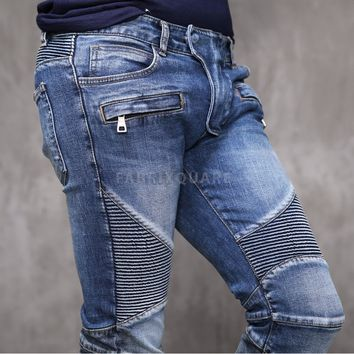 Mens BM Stretch Pintuck Blue Skinny Real Biker Jeans at Fabrixquare