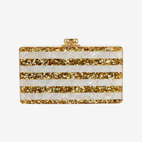 EDIE PARKER GLITTER STRIPE JEAN BOX CLUTCH: GOLD
