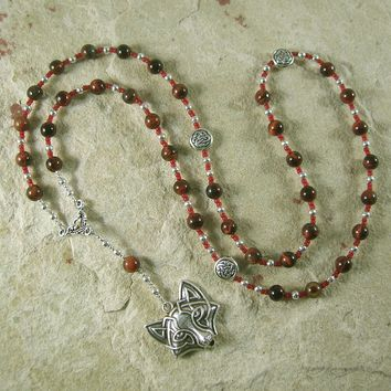 Loki Prayer Bead Necklace in Red Tiger Eye: Norse God of Chaos, Change, Transformation