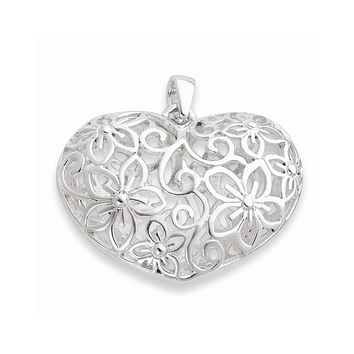 Sterling Silver Flower Filigree Design Puffed Heart Pendant