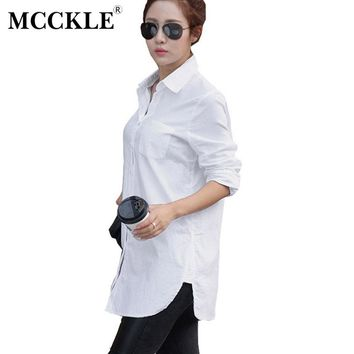 MCCKLE Women Casual Shirts Tops Solid White Cotton Ladies Shirt 2017 Spring Summer Puff Sleeve Turn-Down Collar Blouse for Girls