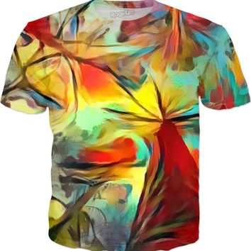 Abstract forest trees, colorful shirt design, rainbow colors tee, stylish clothing