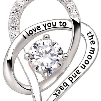 "Jewelry Sterling Silver ""I Love You To The Moon and Back"" Love Heart Cubic Zirconia Pendant Necklace"