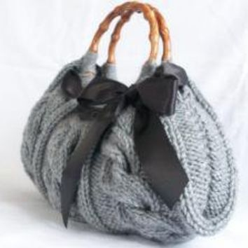 Handbag Knitted Gray Bag Nr046 by NzLbags on Etsy